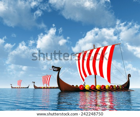 Viking Ships Computer generated 3D illustration - stock photo