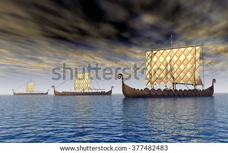 Viking ships Computer generated 3D illustration