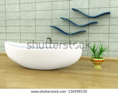 Viking-style bathtub - stock photo