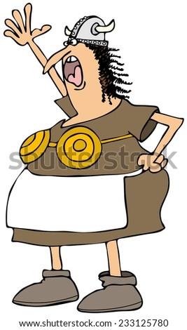 Viking woman with a brass bra - stock photo