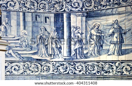 VILA DO CONDE, PORTUGAL - September 20, 2015: Detail of the eighteenth century panels of tiles that portray images of the life of the Virgin Mary, on September 20, 2015 in Vila do Conde, Portugal - stock photo