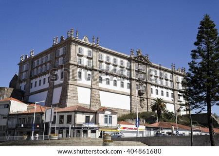 VILA DO CONDE, PORTUGAL - September 20, 2015: View of the Monastery of Santa Clara, built in neoclassical style in 1777 on September 20, 2015 in Vila do Conde, Portugal - stock photo