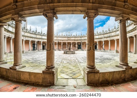 VILA NOVA DE GAIA, PORTUGAL - OCTOBER 16, 2014: Serra do Pilar Monastery cloister. The rare circular cloister is an UNESCO World Heritage Site dating from the 16th century. - stock photo