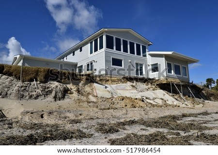 VILANO BEACH, FLORIDA, USA - NOVEMBER 6, 2016: Aftermath of beach home damage caused by hurricane Matthew hitting along the  east coast of Florida on October 7, 2016
