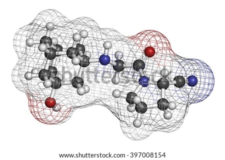 Vildagliptin diabetes drug molecule. 3D rendering. Atoms are represented as spheres with conventional color coding: hydrogen (white), carbon (grey), nitrogen (blue), oxygen (red). - stock photo