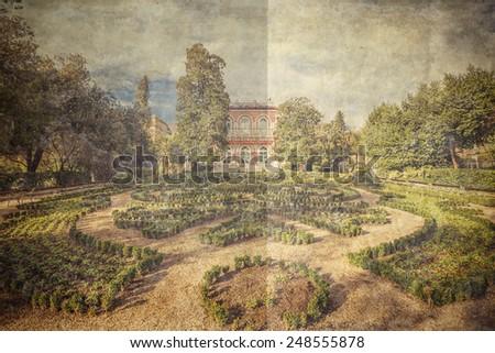 Villa Angiolina in Opatija, Croatia. Picture in artistic retro style. - stock photo
