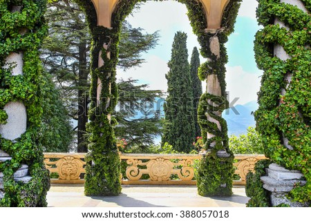 "VILLA BALBIANELLO, ITALY - AUGUST 02, 2015: Inside the classic loggia with high columns at villa Balbianello, Como lake, Italy. Scenes in ""Star wars"" movie was filmed here. - stock photo"