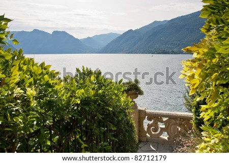 Villa Balbianello, Lake Como Italy. This villa features in a scene from Star Wars Episode II - Attack of the clones, set in the land of Naboo - stock photo