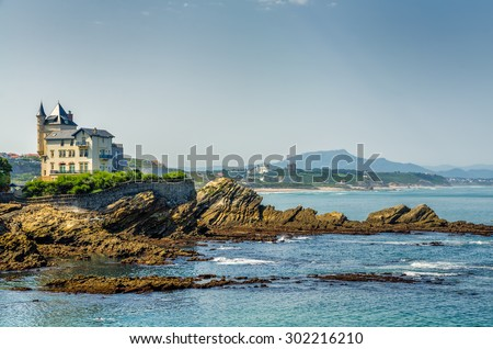 Villa Belsa and the coast, Biarritz. - stock photo