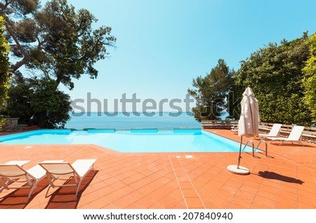villa by the sea, view of the pool