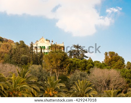 villa in parc guell, barcelona - stock photo