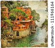 villa in Portofino, Liguria, Italy.  retro styled pictures - stock photo