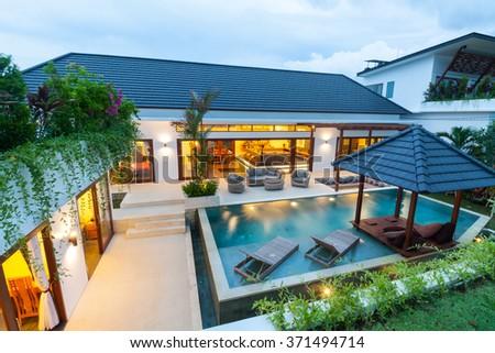 Villa in the tropics - stock photo