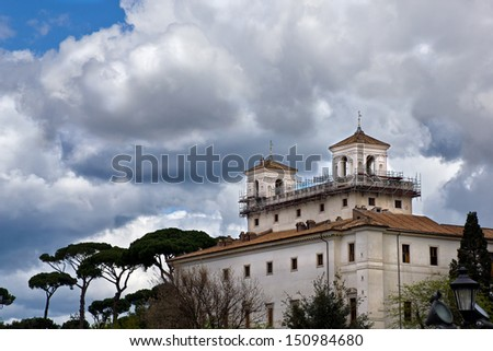 Villa Medici, the location of the French Academy in Rome Italy - stock photo