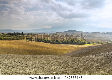 Villa on the fields of Tuscany - stock photo