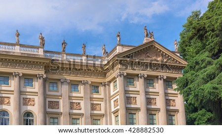 Villa Reale, Milan,Italy; view of beautiful neoclassic palace.