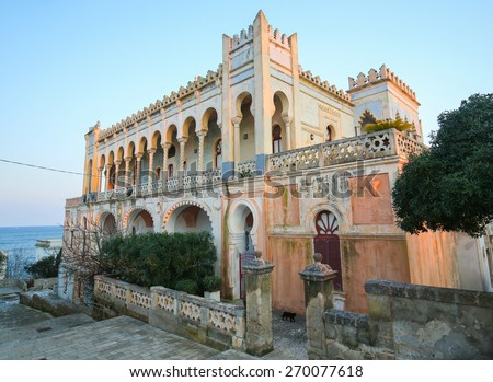 Villa Sticchi in Santa Cesarea Terme, created between 1894 and 1900 in the Moresque style at the Salento coast in Santa Cesarea Terme, province of Lecce, Apulia, Italy. - stock photo