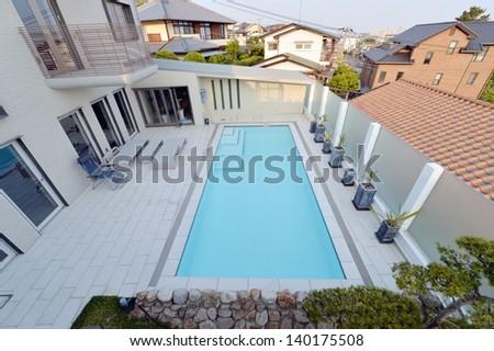Villa with swimming pool -2 - stock photo