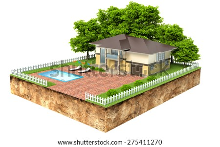 villa with swimming pool on piece of earth with garden and trees - stock photo