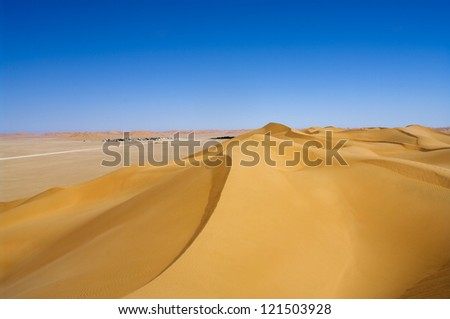 Village Al-Hashman  in the desert, Oman - stock photo