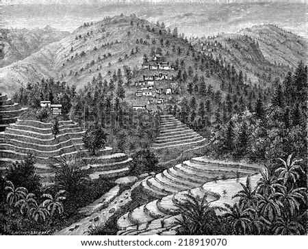 Village and rice mountain, Road Pu-erh, vintage engraved illustration. Le Tour du Monde, Travel Journal, (1872).  - stock photo