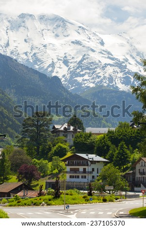 village and road junction at the valley of the French Alps  - stock photo