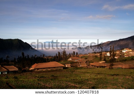 village at the peak of mountain bromo indonesia