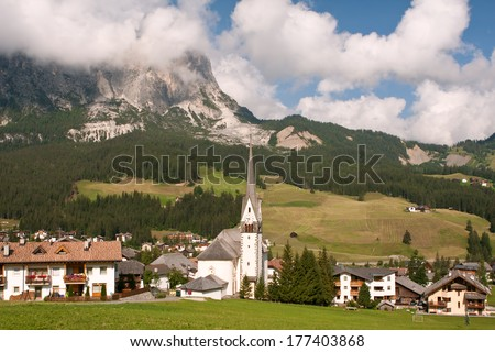 village Badia in Italy - Dolomites - stock photo