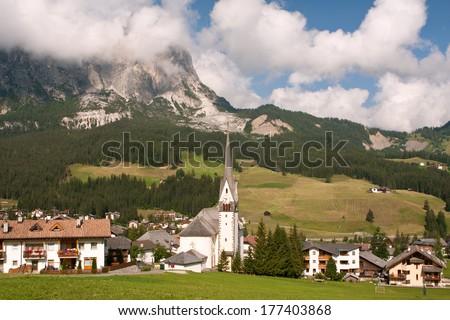 village Badia in Italy - Dolomites - stock photo