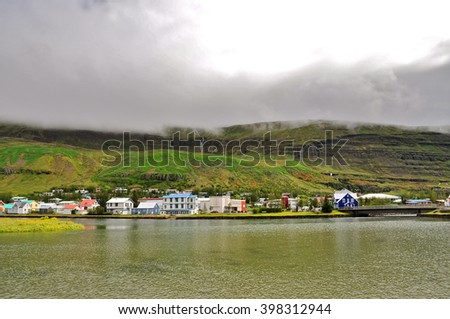 Village, fjord, Iceland - stock photo
