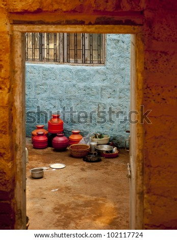 Village house courtyard in Goa - stock photo