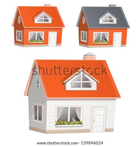 Village house illustration - stock photo