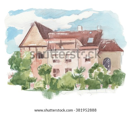 VILLAGE HOUSE watercolor illustration. Drawing by hand on wright paper beautiful background