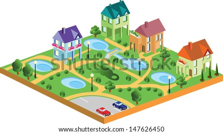 Village houses in isometric projection - stock photo