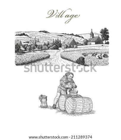 Village illustration - stock photo
