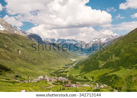 Village in Alps, Switzerland - stock photo