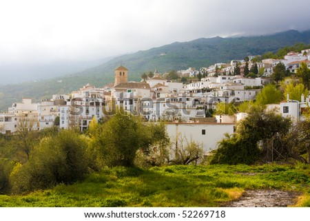 Village in Alpujarras during sunset, Spain