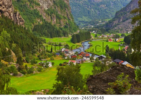 Village in Flam - Norway - nature and travel background - stock photo