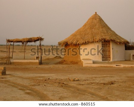 village in india - stock photo