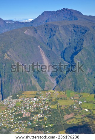 Village in Mafate Reunion Island near canyon overlooking Piton Des Neiges Mountain - stock photo