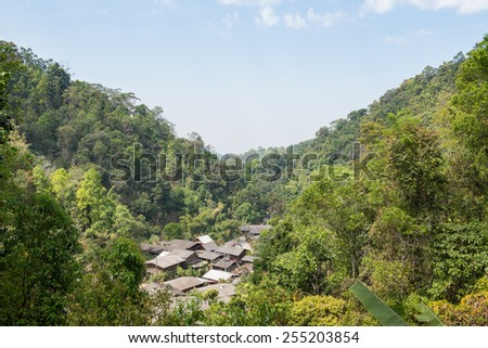 village in the valley at Mae Kam Pong,Chiang-Mai - stock photo