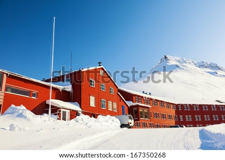 Village in wintry Landscape, Arctic North Pole, Svalbard. - stock photo