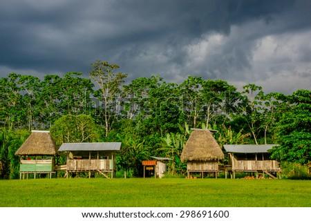 Village in Yasuni national park , Ecuador - stock photo