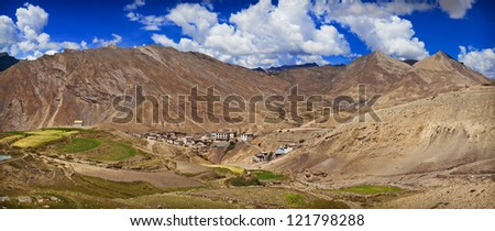 Village Kibber, Spiti, Himachal Pradesh, India