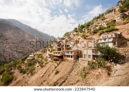 Village landscape with old houses in mountain village Hawraman of Kurdistan, Iran. - stock photo