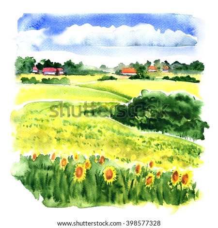 Village landscape with sunflower field and country houses, watercolor illustration