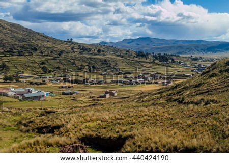 Village near Titicaca lake, Peru - stock photo