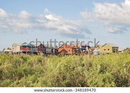 Village near Tonle Sap lake. Cambodia. - stock photo