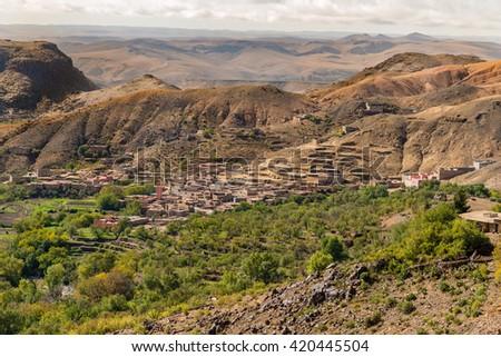 Village of assaka in the Anti-Atlas mountains in Morocco. - stock photo