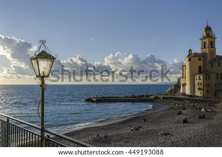 Village of Camogli in Genoa in Italy - stock photo